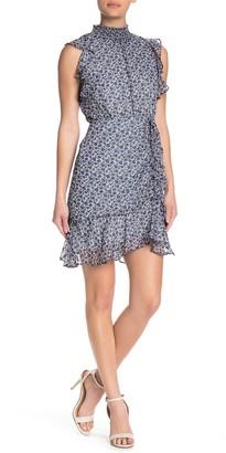 Sam Edelman Metallic Ruffle Cap Sleeve Floral Print Mini Dress