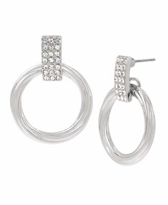 Kenneth Cole Women's Silver Pave Twist Circle Link Drop Earrings