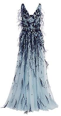 Pamella Roland Women's Embellished Sequin & Ostrich Feather Tulle Gown