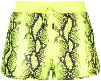 Off-White snake print effect shorts