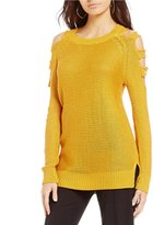 Gibson & Latimer Cold Shoulder Cut Out Sweater