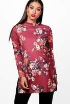 boohoo Maternity Freya Floral Side Split Tunic Top