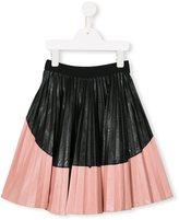 No21 Kids - colour block pleated skirt - kids - Polyurethane/Viscose - 4 yrs