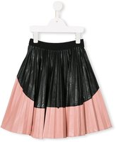 No21 Kids colour block pleated skirt