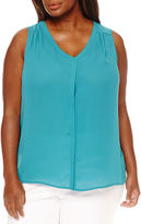 WORTHINGTON Worthington Sleeveless Floral Button-Front Shirt-Plus