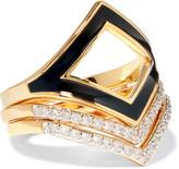 Noir Set of three gold-tone, enamel and crystal rings