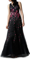 Kay Unger Placed Floral Embroidered Tulle Gown
