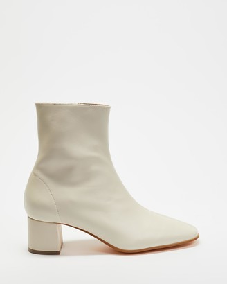 Atmos & Here Atmos&Here - Women's Neutrals Heeled Boots - Venus Leather Ankle Boots - Size 7 at The Iconic