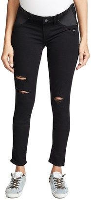 Paige Women's Maternity Verdugo Ultra Skinny with Elastic Insets in Black Shadow Destructed 30