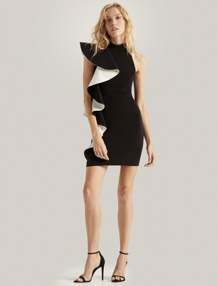 Halston Flounce Crepe Dress