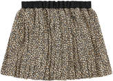 Bonpoint Pleated leopard crepe skirt