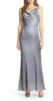 Chi Chi London Delaney Cowl Neck Satin Trumpet Gown