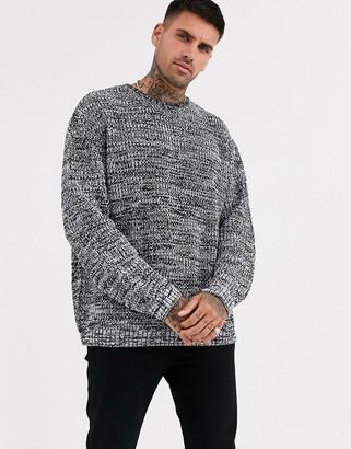Asos Design DESIGN oversized fisherman rib jumper in grey twist