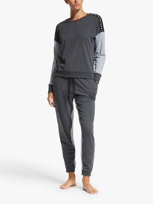 DKNY Classic Top And Jogger Pyjama Set, Charcoal Heather