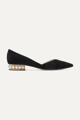 Nicholas Kirkwood Casati Embellished Suede Point-toe Flats - Black