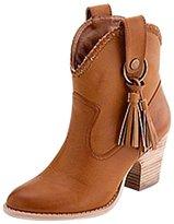 OCHENTA Women's Faux Suede Chunky Heel Tassel Cowboy Ankle Boot