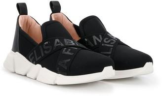 Elisabetta Franchi La Mia Bambina Logo Crisscross Sneakers
