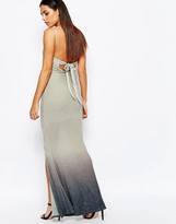Club L Tie Back Fishtail Maxi Dress In Ombre Glitter