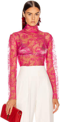 Carmen March CARMEN MARCH Chantilly Lace Blouse in Hot Pink | FWRD