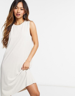 Monki sleeveless midi dress in beige