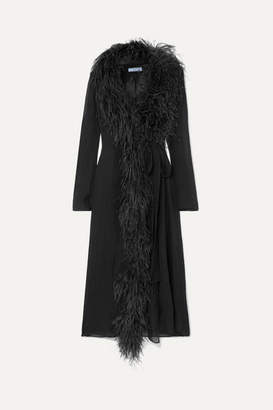 Prada Feather-trimmed Silk-crepon Wrap Dress - Black