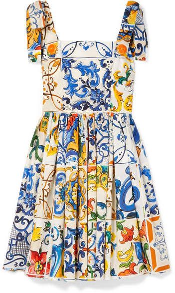 Dolce & Gabbana Printed Cotton-poplin Mini Dress - Blue