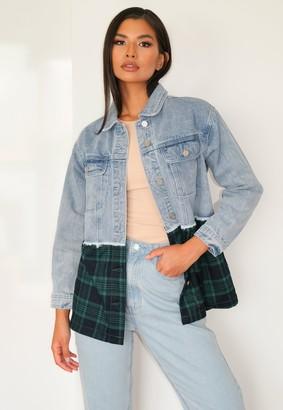 Missguided Petite Blue Check Denim Jacket