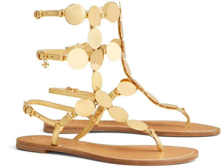 Patos Metallic Disk Gladiator Sandal