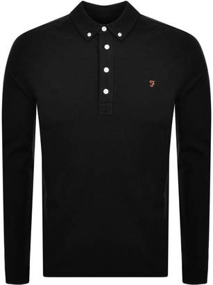Farah Long Sleeved Polo T Shirt Black