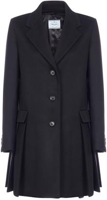 Prada Single-Breasted Pleated Coat