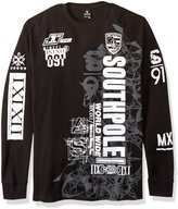 Southpole Men's Big and Tall Long Sleeve Flock and Screen Graphic Tee with Logo