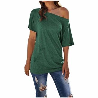KPILP Side Slit One Shoulder Off Shoulder Tops for Women Knitted Sweater Slouchy Long Sweatshirt