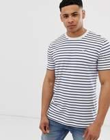 Hollister icon logo stripe t-shirt in white