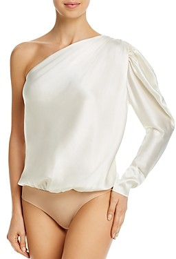 Alix Dakota One-Shoulder Puffed-Sleeve Silk Bodysuit