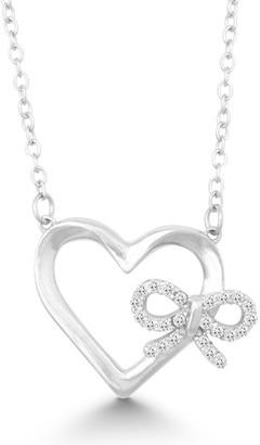 La Preciosa Sterling Silver Heart and Cubic Zirconia Bow Necklace