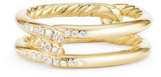 David Yurman 6.5mm Continuance 18K Gold Ring with Diamonds, Size 6
