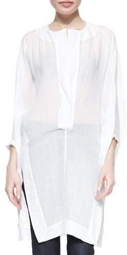 Donna Karan Three-Quarter Full-Sleeve Tunic, White
