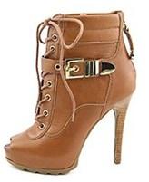 GUESS Bieinda Peep Toe Leather Platform Ankle Booties.