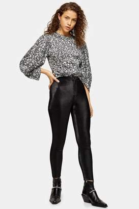 Topshop Womens Petite Black Metallic Thread Joni Jeans - Black