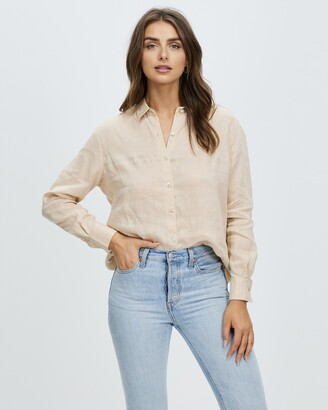 Atmos & Here Atmos&Here - Women's Brown Shirts & Blouses - Sorrento Linen Shirt - Size 6 at The Iconic