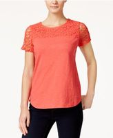 Charter Club Petite Crochet-Sleeve Top, Only at Macy's