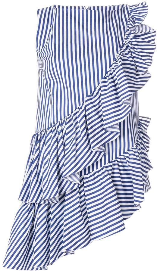 Milla asymmetric ruffled striped top