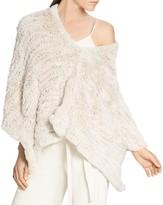 Halston Rabbit Fur Convertible Poncho