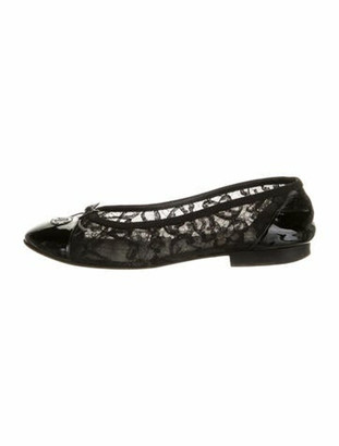 Chanel Lace Pattern Ballet Flats Black