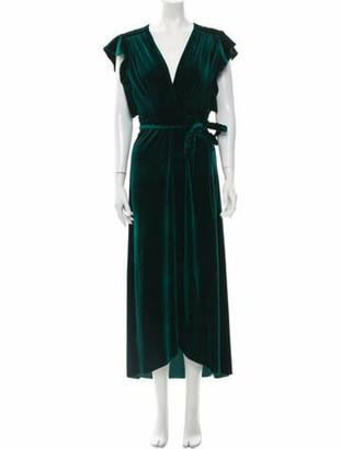 MISA V-Neck Long Dress Green V-Neck Long Dress