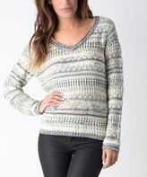 Yuka Paris Cream & Gray Geometric V-Neck Sweater