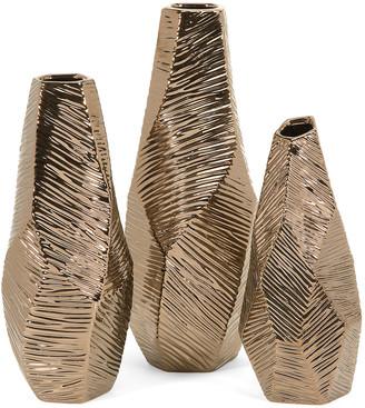 IMAX 3Pc Metallic Bronze Geometric Vases