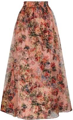 Alice + Olivia Dixie Floral-print Silk-organza Maxi Skirt