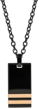 Sutton by Rhona Sutton Sutton Stainless Steel Black Pendant Necklace With Double Rose Gold Stripe