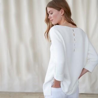 The White Company Cotton Slash-Neck Button-Back Jumper, White, 8